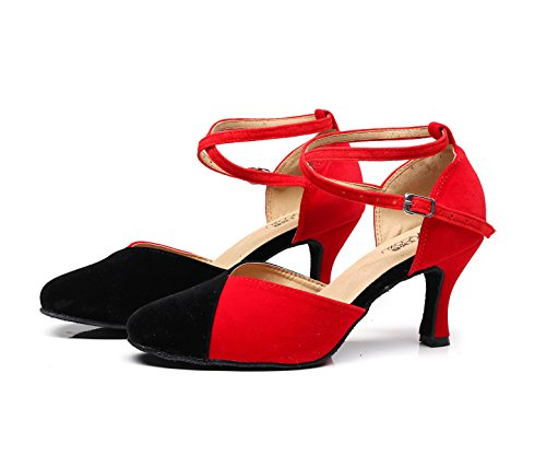 JSHOE Chaussures De Danse Pour Femmes Latin / Chacha / Samba / Moderne / Jazz Chaussures De Danse,Red-heeled7.5cm-UK3/EU33/Our34