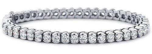 6.50 ct Ladies Round Cut Diamond Tennis Bracelet In Bazel Setting In 18 Karat White Gold