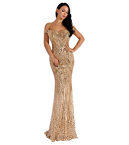 Miss ord Women's V Neck Sequined Prom Banquet Party Maxi Dress Gold Large