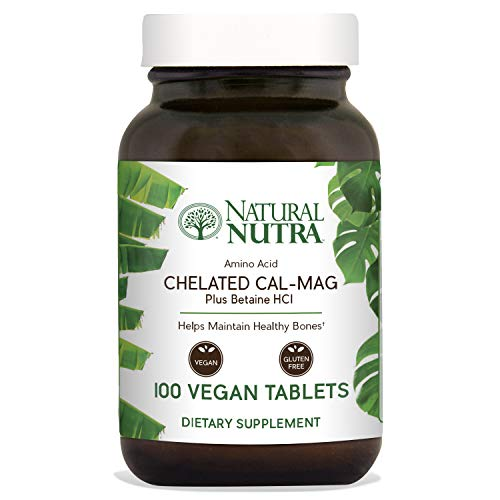 Chelated Tabs Calcium (Natural Nutra Calcium Magnesium Supplement Plus Betaine HCL, 1000/500 mg Cal Mag Vitamin, Chelated for Optimal Absorption, Supports Bone, Teeth, Muscle and Nerve Health, 100 Vegan Tablets)