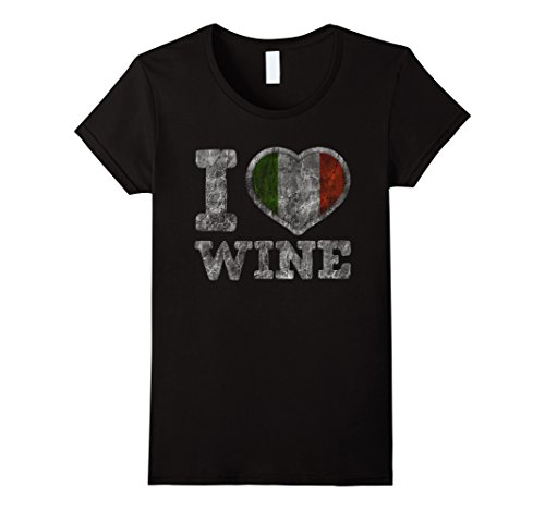 Womens I Love Italian Wine T-Shirt Italy Heart Flag XL Black - Italy Heart