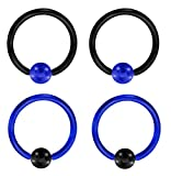 "2 Pair of Unique Custom Blue & Black Captive bead Ring lip, belly, nipple, cartilage, tragus, septum, earring hoop - 12g 1/2"""