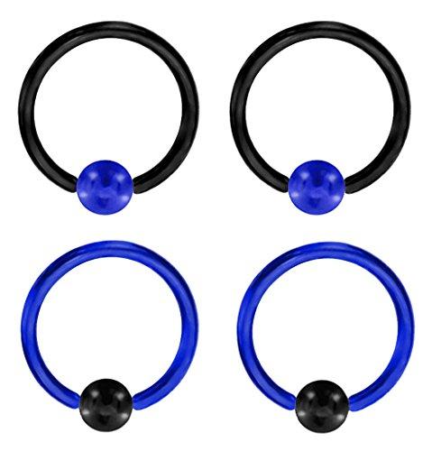 "2 Pair of Unique Custom Blue & Black Captive bead Ring lip, belly, nipple, cartilage, tragus, septum, earring hoop - 10g 1/2"""