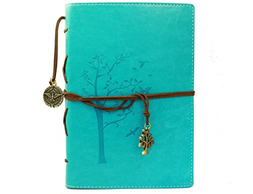 Vintage Leaf Leather Cover Loose Leaf Blank Journal Diary (Blue) - 8