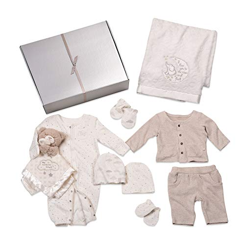 Baby Starters 9-Piece Neutral Layette Set, 6 Months with Pants Set, Blanket, Snuggle Buddy, More