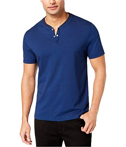 Alfani Darkside Mens Large Birdseye Henley Shirt Blue L