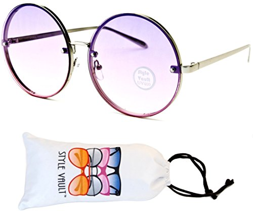 E406-vp Style Vault Oversized Round Metal Sunglasses (S3373V Silver-Purple Smoked, - Round Style 90s Sunglasses