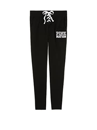 e1087fbdcd253 Victoria s Secret PINK Nation Lace-Up Dorm Pant Pure Black (Large ...