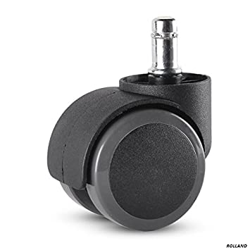 Rolland Office Chair Caster Wheel For Hardwood Floor   Stem Diameter: 11mm,  Stem Length