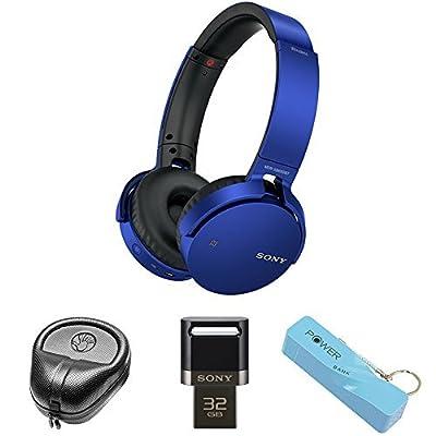 Sony XB Series Wireless Bluetooth Headphones w/ Extra Bass - Red (MDRXB650BT/R) with Slappa HardBody Headphone Case, 32GB USB 3.0 Flash Memory Drive for Mobile Devices & 2600mAh Portable Power Bank