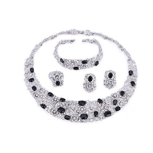 Black Silver Plated Bracelet - OUHE Black Crystal Chain Necklace Ring Bracelet Jewelry Set Costume Show Wedding Silver Plated