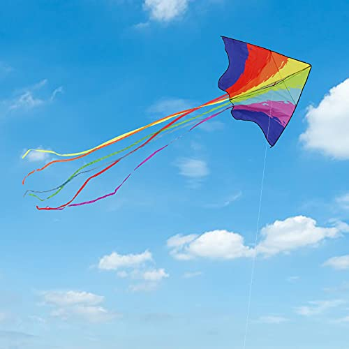 Motiloo Large Delta Rainbow Kite,Giant Beach Kites for Kids and Adults Easy to Fly Kites Beginners Kids Kite