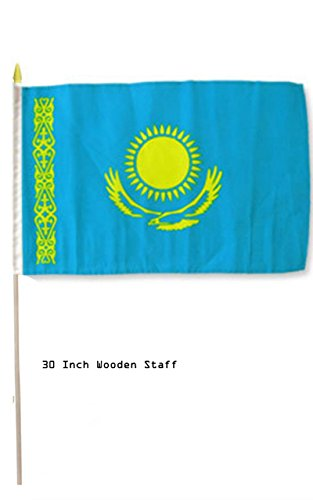 - ALBATROS 12 in x 18 in (Pack of 3) Kazakhstan Country Stick Flag 30in with Wood Staff for Home and Parades, Official Party, All Weather Indoors Outdoors