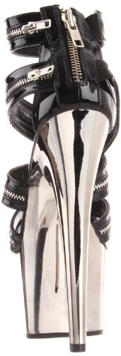 pewter Blk Donna Sandali Chrome Pleaser TvzYwq