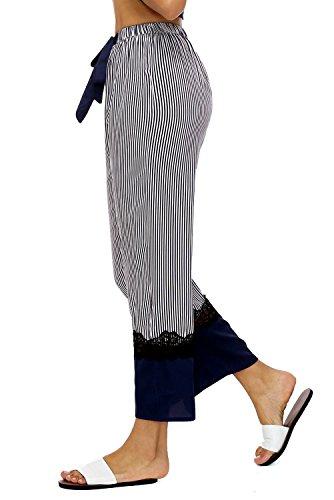 Notte Regolabile in Pigiama di Pizzo Spalline Serico da Camicia Notte Raso da Donna Sottoveste Merletti Blu BellisMira Pantaloni Biancheria Set Strisca in con IFwqC8R