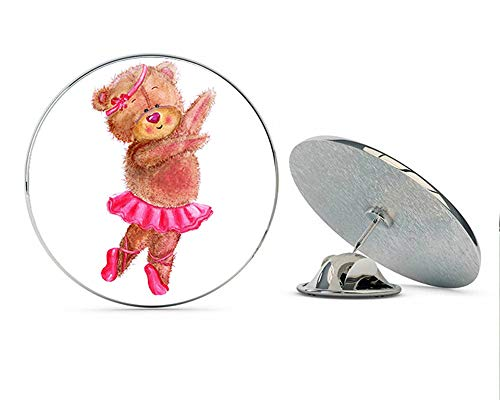 BRK Studio Cute Adorable Fuzzy Brown Teddy Bear Nursery Cartoon - Ballerina Round Metal 0.75