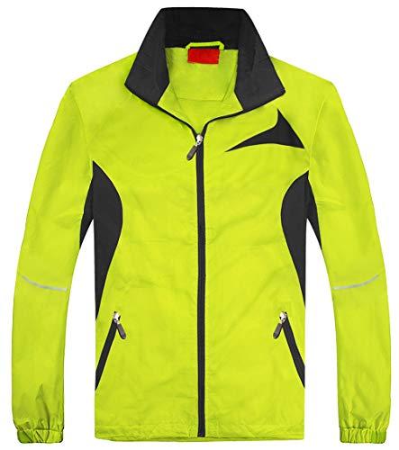- FAFNIR Men's Running Jackets Lightweight Waterproof Rain Windbreaker Skin Coat(Fluorescent Green and Grey,XL)
