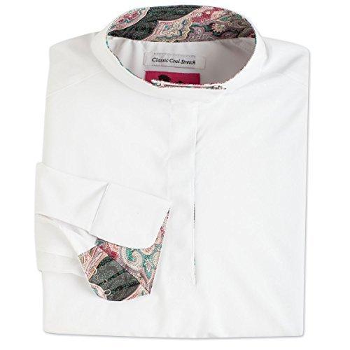 RJ Classics Ladies Prestige Long Sleeve Show Shirt White w/ Black Paisley Trim (M)
