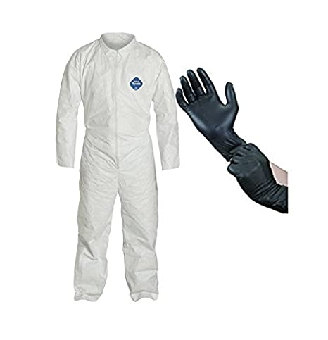 Dupont TY120S Tyvek Coveralls Suit - 2X-Large with X-Large Protective Gloves