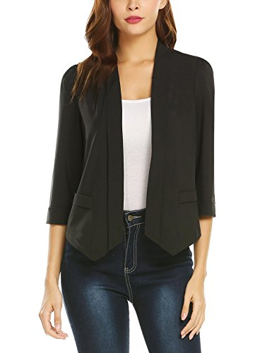 leeves Work Shawl Collar Open Front Solid Blazer Jacket ()