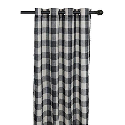 Creativesfun Buffalo Check Grommet Window Curtain (Black & White, Panel 丨W53 X L84-INCH 1PC) (Curtains Plaid)