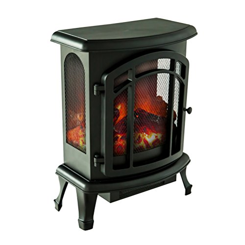 FLAMEandSHADE Electric Fireplace Stove Heater, Portable Fireplace Space Heater with Remote Thermostat, W19