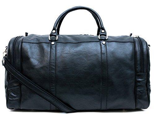 3c9c089545c Mens leather duffle bag black shoulder bag travel bag luggage weekender  carryon cabin bag gym leather bag  Amazon.co.uk  Handmade