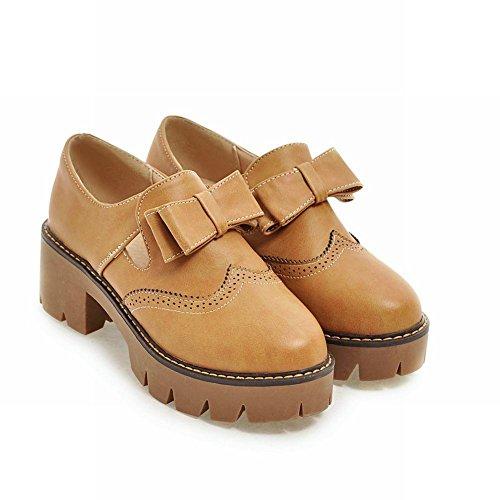 Bows Heel Loafers Womens Fashion Light Carolbar brown Platform Mid Retro Shoes pwZx57