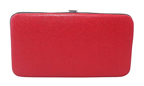 Chicastic Red Glossy Snakeskin Small Flat Hard Clutch Wallet