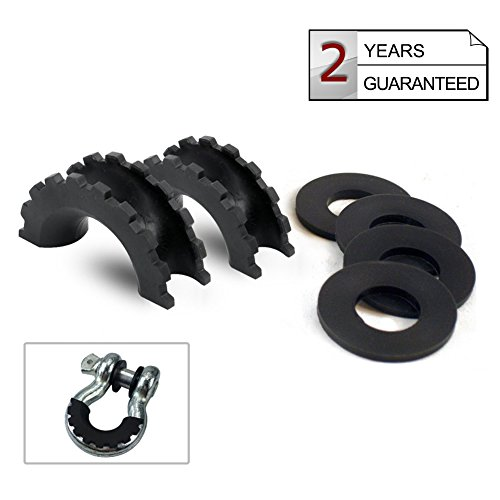 1 Pair Black D-Ring Isolator and 4 Pcs Washers,Shackle Isolator Kit Protect Your Bumper and Reduce Rattling,Fit for Jeep Off-road Vehicle SUV ATV UTV Truck 4WD--AutoSky (Isolator Kit)
