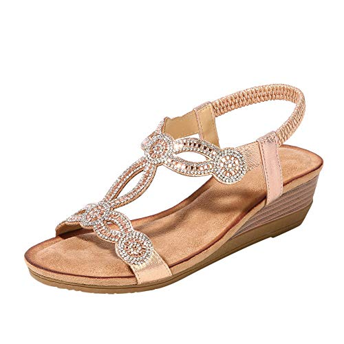 (Desirepath Wedge Shoes for Women Open Toe 2019 Summer Rhinestone Sandals Low Heels Champagne)