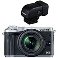 Canon EOS M6 Mirrorless Digital Camera Silver Kit with EF-M 18-150mm f/3.5-6.3 IS STM Lens - With Canon EVF-DC1 Electronic Viewfinder