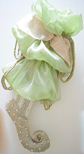 Katherine's Collection Large Decorative Embellished Green and Pink 22 Inch Christmas Stocking with Sequins and Pearls - Katherines Collection Christmas Stocking