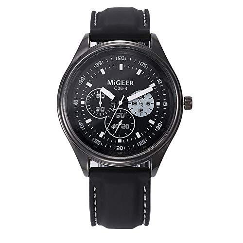 12shage/Ver Menos de 10 EUR. Reloj de Silicona Negro clásico para Hombre. Reloj Deportivo de Acero Inoxidable. Reloj de…