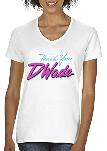 Jersey Wade D (PROSPECT SHIRTS White Miami D Wade Thank You Ladies V-Neck T-Shirt Adult)