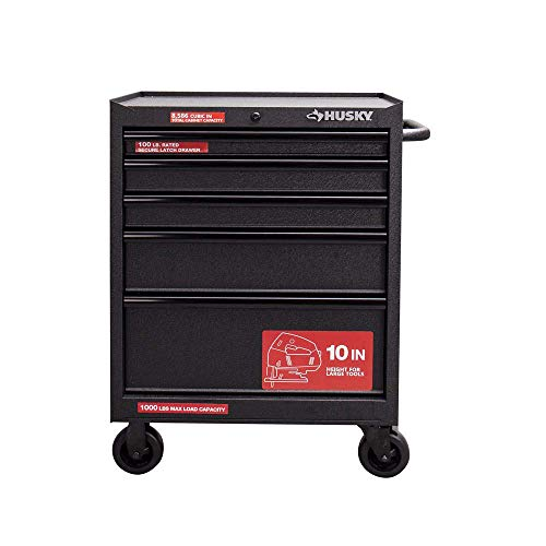 Husky 27 in. 5-Drawer Roller Cabinet Tool Chest in Textured Black 5 Drawer Rolling Tool
