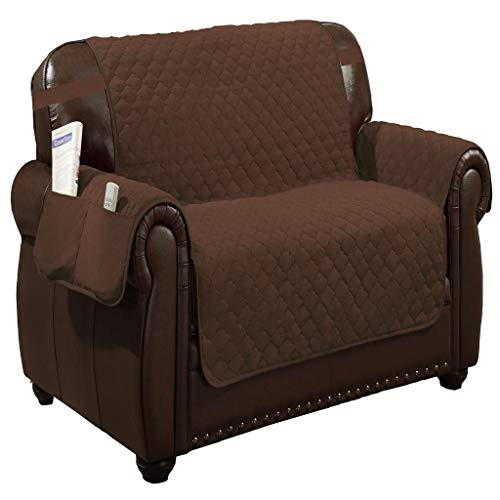 (Quick Fit - The Original Quilted Reversible Water Resistant Furniture Cover for Dogs, Kids, Pets Sofa Slipcover for Couch, Recliner, Loveseat or Chair (Loveseat: Brown & Beige))
