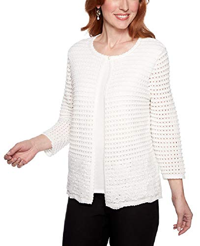 Alfred Dunner Women's Petite Classics 2Fer Sweater, White, Large Petite ()