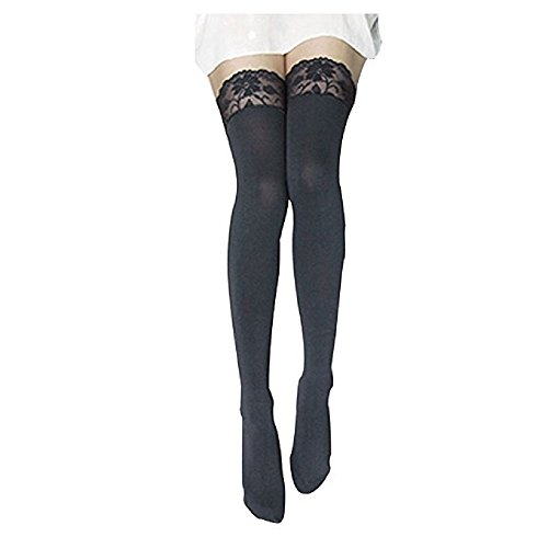ZHIHONG Women's Lace Top Opaque Thigh High Stockings (Gray) (Lace Thigh High Tights)
