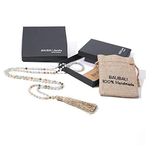 Jewelry 4 Strand Jade Necklace - BALIBALI 8MM Beads Chakra Long Mala Necklace Natural Stone Meditation Statement Necklace Japa Yoga Rosary Prayer Charm Beaded Tassel Necklace (4mm Amazonite(43in))