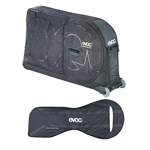 Pro Travel Cover - Evoc Bicycle Travel Bag Pro (Black) Bundle with Road Bike Chain Cover and Bike Stand | Rugged Wheeled Case Protects Your Bike in Transit or Airline Travel