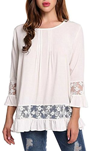 ZXFHZS Womens Casual Slim Round Neck 3/4 Sleeve Lace Trim Blouse Top White L by ZXFHZS