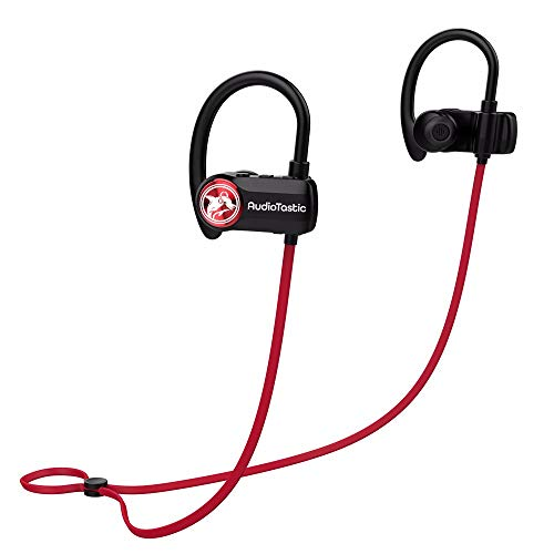 AudioTastic Wireless BT 4.1 EDR, 10 Hour Play Time, Rich Stereo Sound, with MIC, Dual Device Support, Behind Ear Hook Sports Buds Red