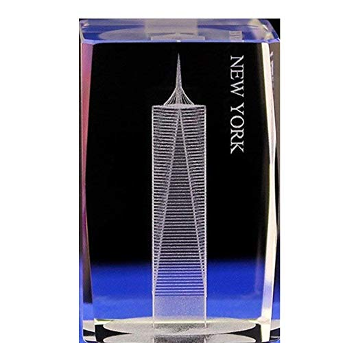 Lucky House Crystal Glass Cubic Eagle Fish Town Paper 3D Laser Sculpture Statue Feng Shui Souvenir Craft Gift (American Freedom Tower)