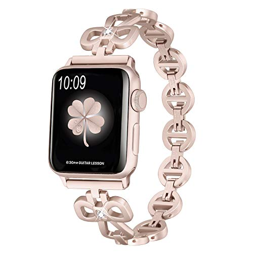 Secbolt Stainless Steel Bands Compatible Apple Watch Band 38mm 40mm iWatch Series 4, Series 3, Series 2, Series 1, Shamrock Link with Diamond Women Girls, Champagne Gold