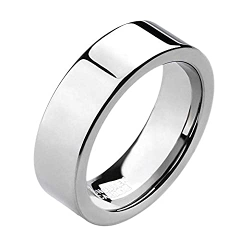 6MM Silver Tungsten Carbide Ring Wedding Band High Polished Finish Comfort Fit (6)