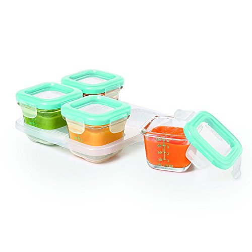 OXO Tot Glass Baby Blocks Food Storage Containers, Aqua (Set of 16) by OXO (Image #6)