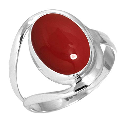 Red Stone Women Jewelry 925 Sterling Silver Ring Size 7.5
