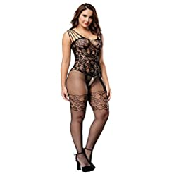 Womens Strap Floral Crotchless Bodystocking Plus Size Bodysuit for Women 41im3iL7ulL