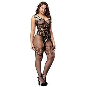 - 41im3iL7ulL - Deksias Womens Strap Floral Crotchless Bodystocking Plus Size Bodysuit for Women
